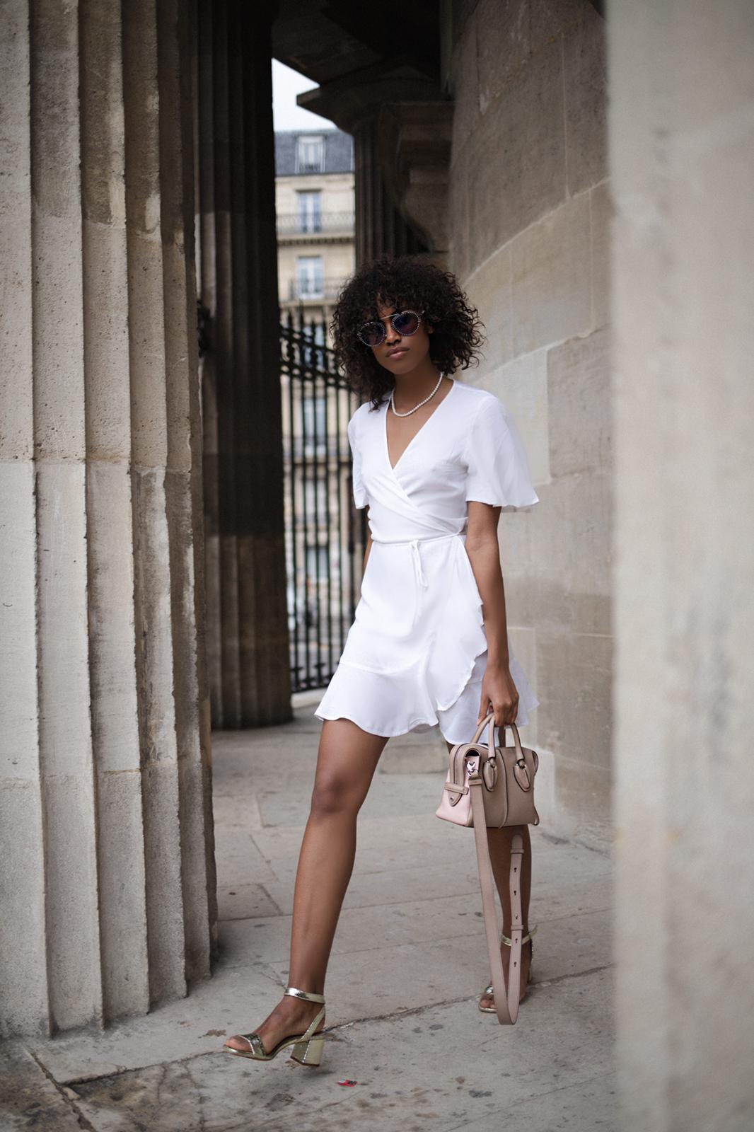 White cotton wrap dress.